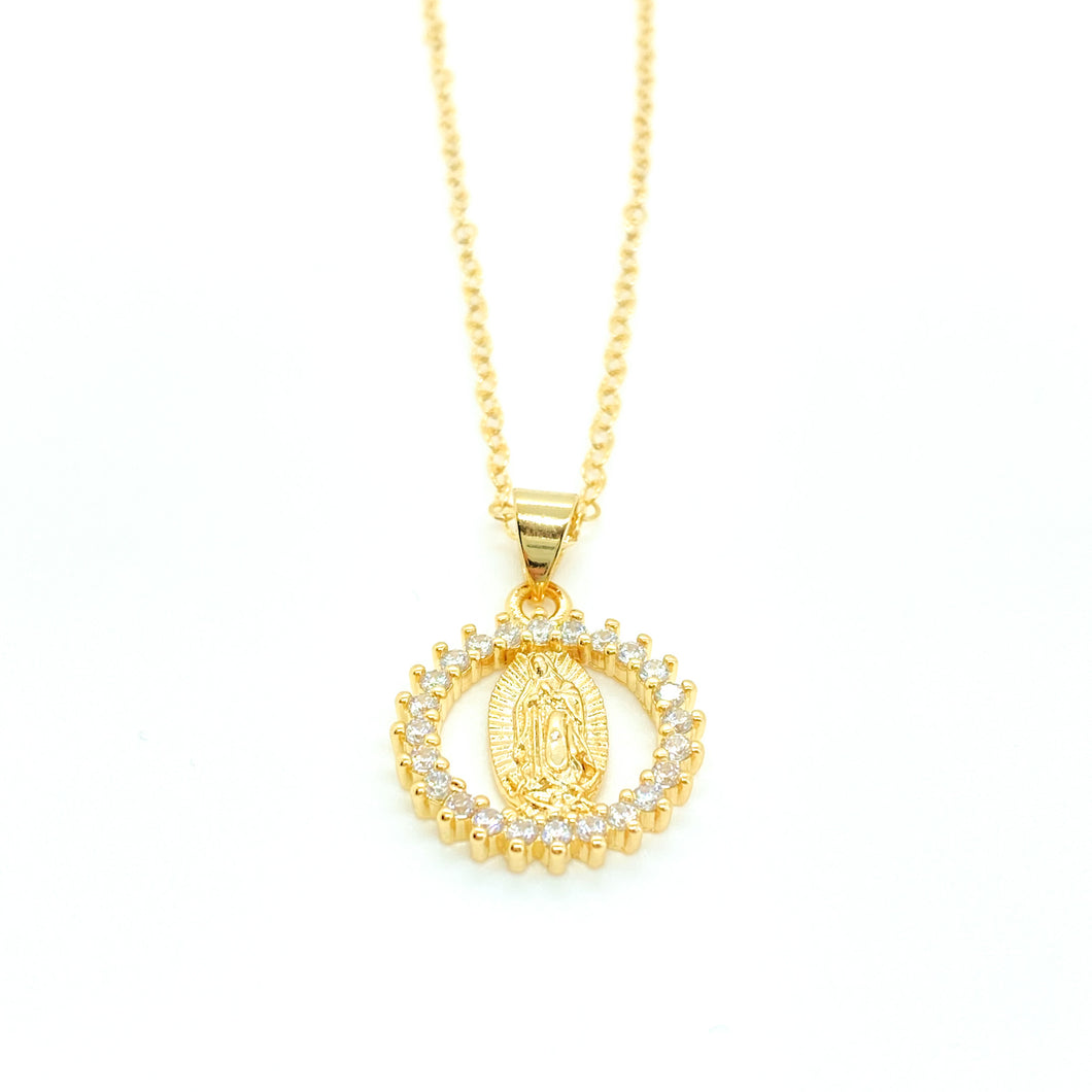Virgin Mary CZ Encrusted Circle Pendant Necklace
