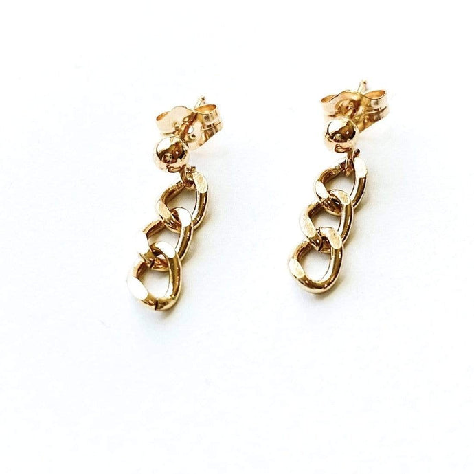 May Martin Earrings Ball Post with Chunky Drop Chain Earrings