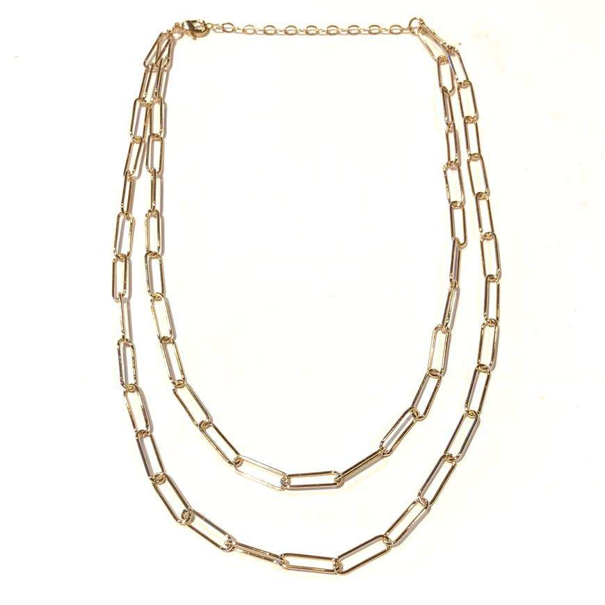 Wide Link Layered Necklace
