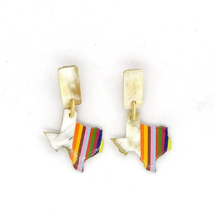 Sunshine Tienda Earrings Small Texas Dangle Horn Rainbow Earrings