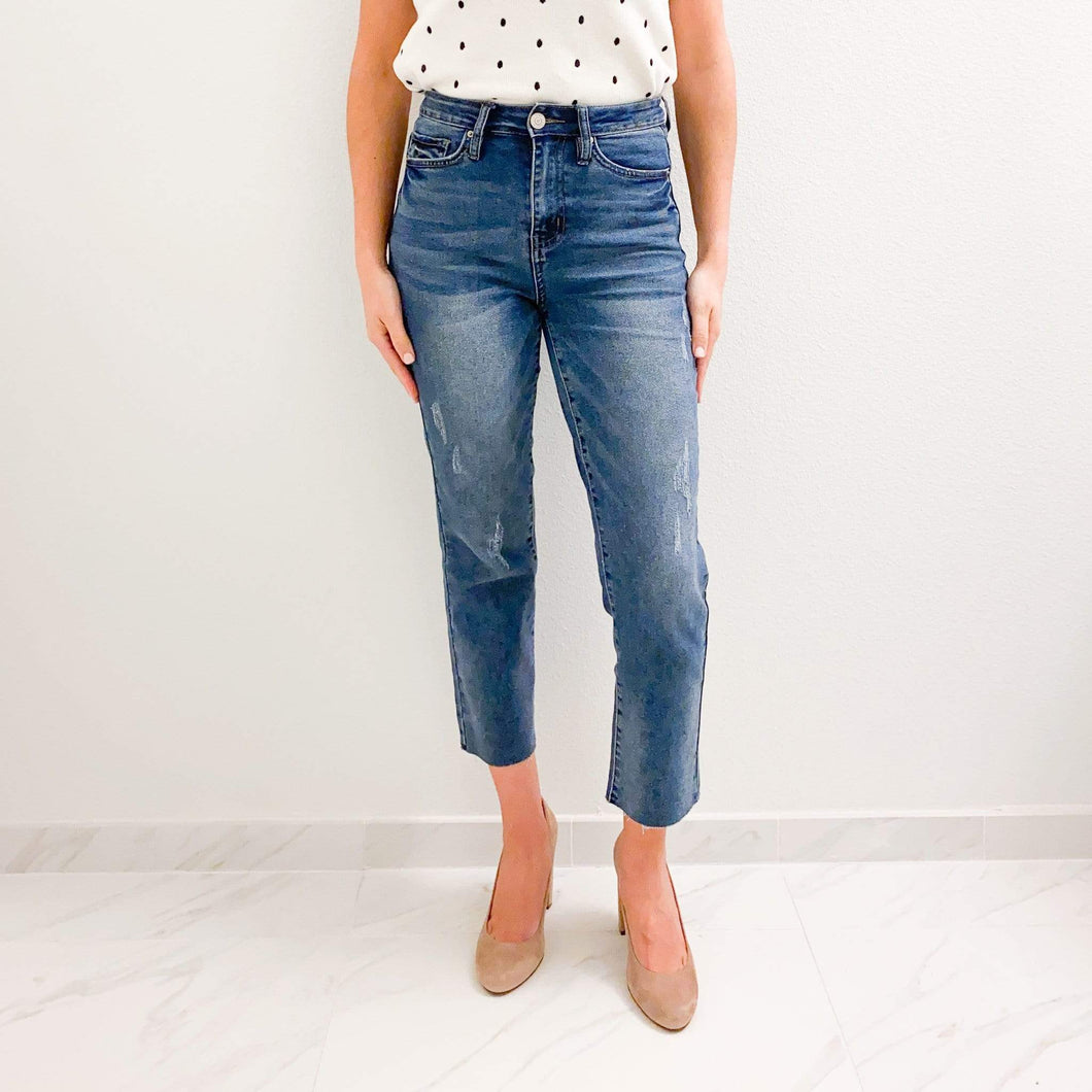 High Waisted Raw Hem Ankle Jeans