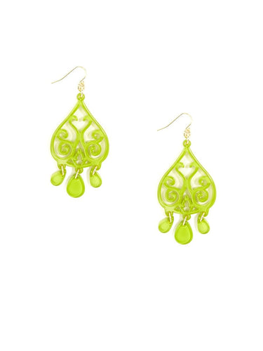 Zenzii Earrings Lime Resin Scroll Drop Earrings