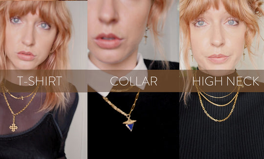 How to layer your Temple of the Sun Necklaces with different necklines