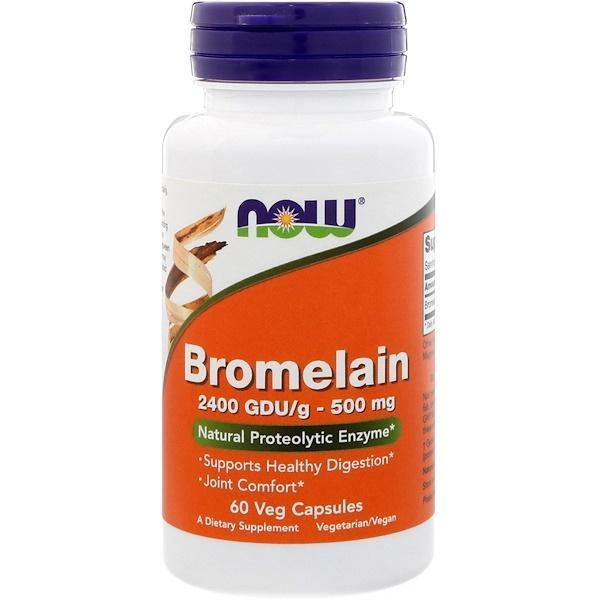 Now Foods VITAMINS Now Foods, Bromelain, 500 mg, 60 Veg Capsules