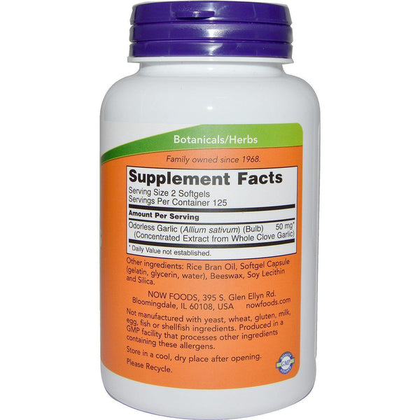 Now Foods VITAMINS Now Foods, Odorless Garlic, Concentrated Extract, 250 Softgels
