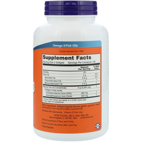 Now Foods VITAMINS Now Foods, Omega-3, 180 EPA/120 DHA, 200 Softgels