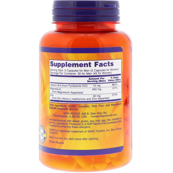 Now Foods VITAMINS Now Foods, Sports ZMA, Sports Recovery 90 Capsules