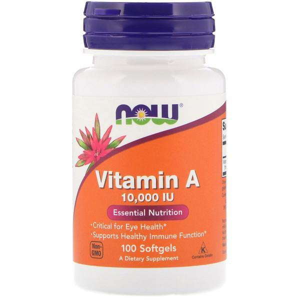 Now Foods VITAMINS Now Foods, Vitamin A, 10,000 IU, 100 Softgels