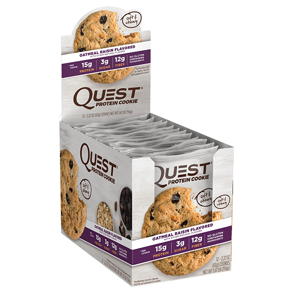 Quest HEALTH FOOD,SNACKS AND BARS Box of 12 / Oatmeal Raisin Quest Nutrition Protein Cookies