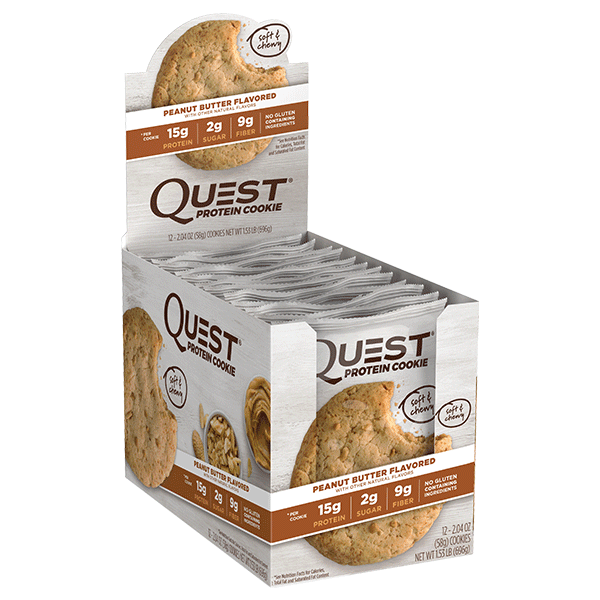 Quest HEALTH FOOD,SNACKS AND BARS Box of 12 / Peanut Butter Quest Nutrition Protein Cookies