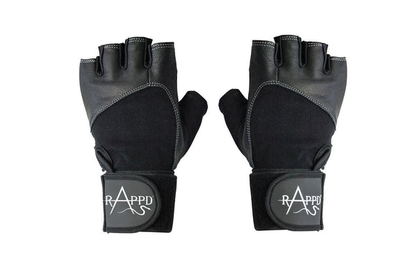 Rappd GLOVES, BELTS AND ACCESSORIES Black / Xsmall Rappd G Force Black Edition Leather Lifting Gloves With Wrist Wrap