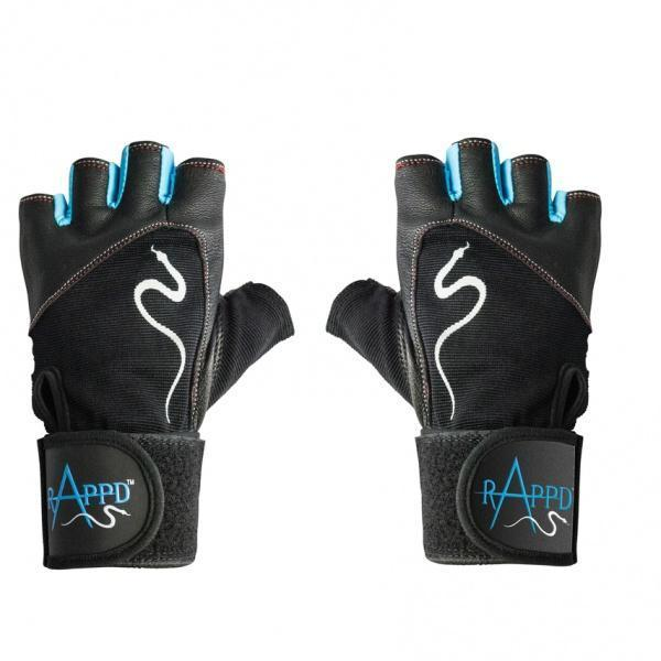 Rappd GLOVES, BELTS AND ACCESSORIES Small / Blue Rappd G Force Leather Lifting Gloves with Wrist Wrap