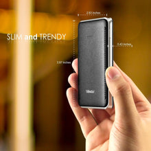 Eye-catching Leather-like Design 6000mAh Ultra Slim Power Bank,  Black/Sliver,  BasAcc