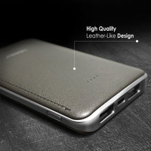 Eye-catching Leather-like Design 6000mAh Ultra Slim Power Bank,  Gray/Sliver,  BasAcc