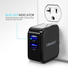Universal 4.8A/24W 2-Port USB Rapid Wall Charger With Blue LED indicator, Black, BasAcc
