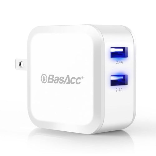 Universal 4.8A/24W 2-Port USB Rapid Wall Charger With Blue LED indicator, White BasAcc
