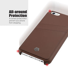 "Ultra Slim iPhone 6/6S (4.7"") Case, Premium Handcrafted Leather Back Cover with Credit Card Slot Holder, Brown, Cobble Pro"