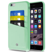"Ultra Slim iPhone 6/6S Plus (5.5"") Case, Premium Handcrafted Leather Back Cover with Credit Card Slot Holder, Mint Green, Cobble Pro"