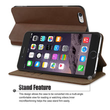 "Flip Stand iPhone 6/6S Plus(5.5"") Case, Premium Handcrafted [Ultra Slim] Leather Wallet Case with Credit Card Slot Holder, Brown, Cobble Pro"
