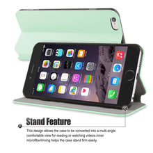 "Flip Stand iPhone 6/6S Plus(5.5"") Case, Premium Handcrafted [Ultra Slim] Leather Wallet Case with Credit Card Slot Holder, Mint Green, Cobble Pro"