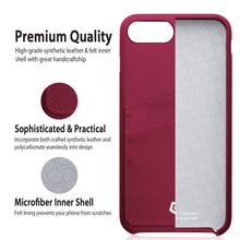 "Ultra Slim iPhone 7 (4.7"") Case, Premium Handcrafted Leather Textured Back Cover with Credit Card Slot Holder, Burgundy Red, Cobble Pro"