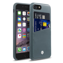 "Ultra Slim iPhone 7 (4.7"") Case, Premium Handcrafted Leather Textured Back Cover with Credit Card Slot Holder, Grayish Blue, Cobble Pro"