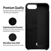 "Ultra Slim iPhone 7 (4.7"") Case, Premium Handcrafted Leather Textured Back Cover with Credit Card Slot Holder, Black, Cobble Pro"