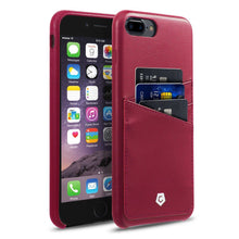 "iPhone 7 Plus (5.5"") Case, Premium Handcrafted Leather Textured Back Cover with Credit Card Slot Holder, Burgundy Red, Cobble Pro"