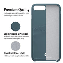 "iPhone 7 Plus (5.5"") Case, Premium Handcrafted Leather Textured Back Cover with Credit Card Slot Holder, Grayish Blue, Cobble Pro"