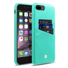 "iPhone 7 Plus (5.5"") Case, Premium Handcrafted Leather Textured Back Cover with Credit Card Slot Holder, Turquoise, Cobble Pro"