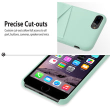 "iPhone 7 Plus (5.5"") Case, Premium Handcrafted Leather Textured Back Cover with Credit Card Slot Holder, Mint Green, Cobble Pro"