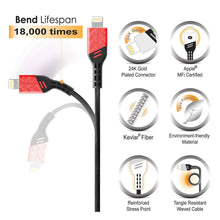 BasAcc Apple MFi Certified 3.3FT Heavy Duty Lightning Cable [Viper Series] for iPhone and iPad, Fire Engine Red