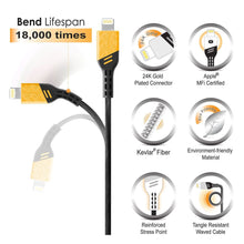 BasAcc Apple MFi Certified 3.3FT Heavy Duty Lightning Cable [Viper Series] for iPhone and iPad, Electric Yellow