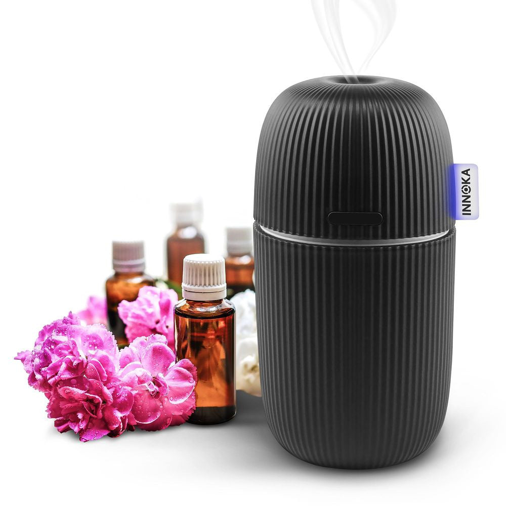 INNOKA Portable Ultrasonic Aroma Fragrance Essential Oil Diffuser, Cool Mist Humidifier with Adjustable Modes [Humidification & Aromatherapy], 110ml, Black
