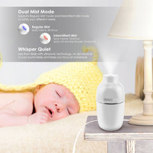 INNOKA Ultrasonic Portable Cool Mist Mini Air Humidifier [Dual Mist Mode & Auto Shut-Off] with LED Light Indicator for Home Goods/Bedroom/Office Goods/Travel/Hotel/Car, 180ml, White