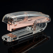 Zodaca [Deluxe Acrylic Design] Mini Desk Stapler, 15 Sheets Capacity, Clear/Rose Gold