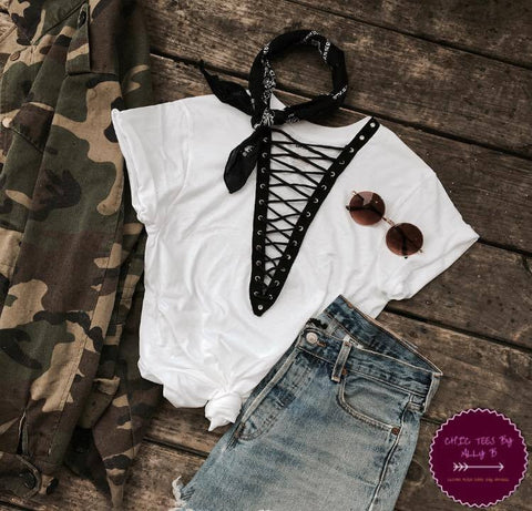 Plain Black and White Lace Up Tees