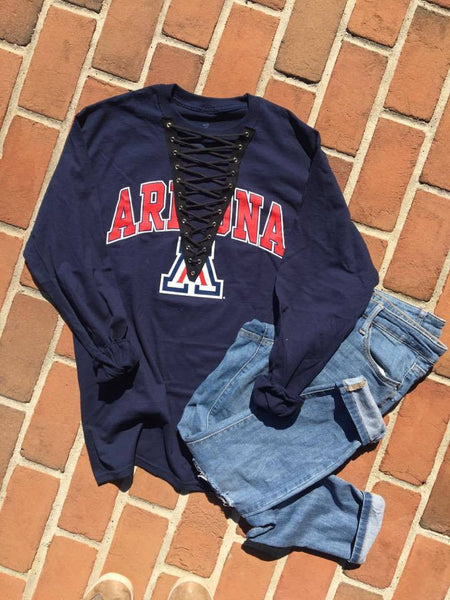 Long Sleeve College Lace Up Tee