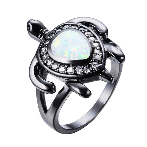 White Fire Diamond Turtle Opal Ring