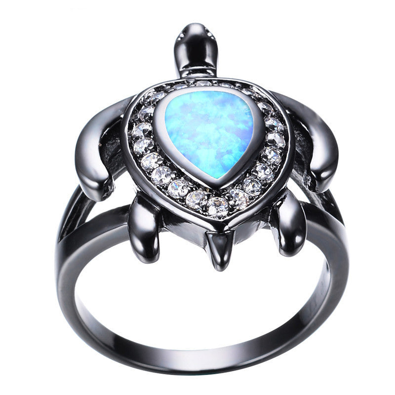 Blue Fire Diamond Turtle Opal Ring