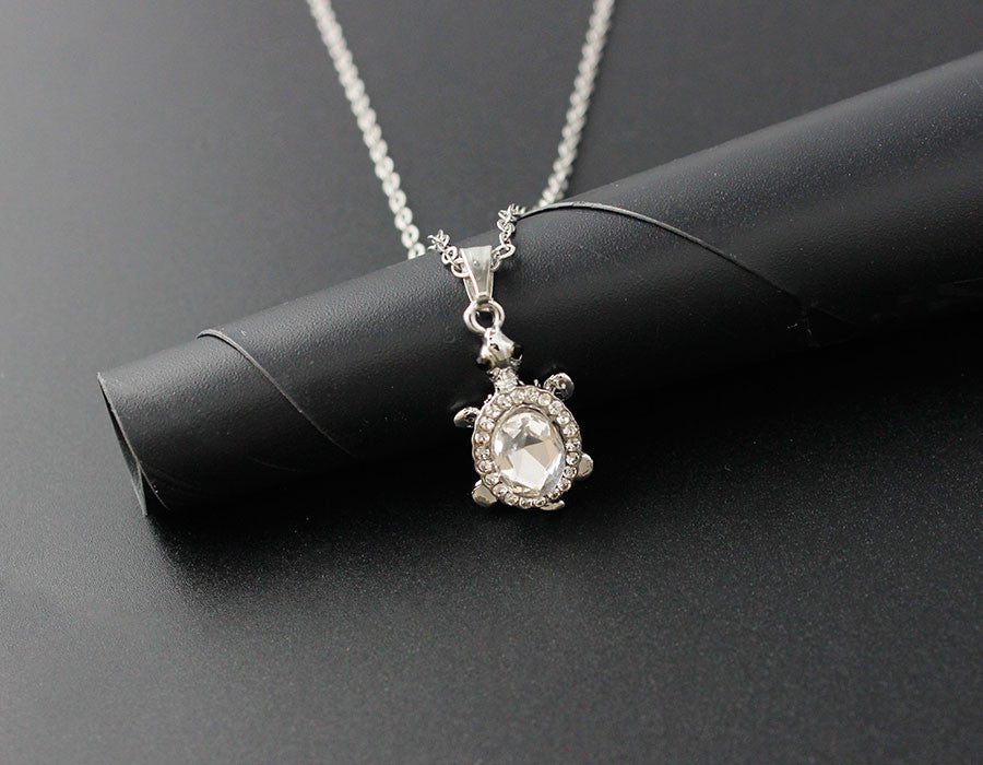 Turtle Rhinestone Pendant Necklace