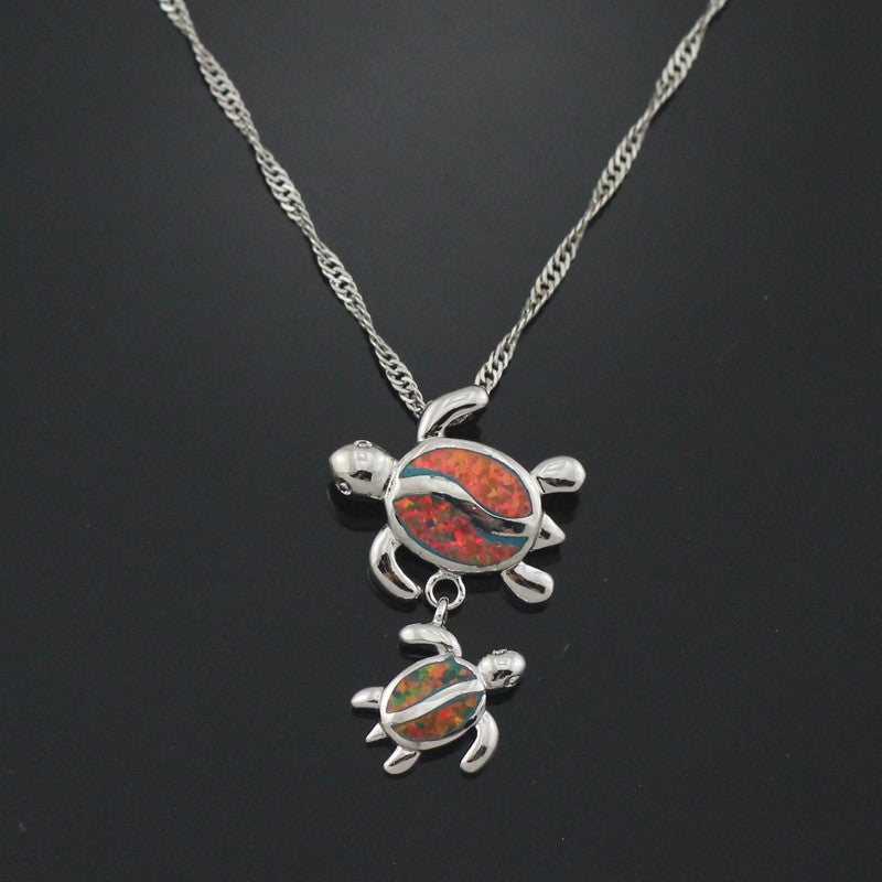Turtle Opal Pendant Necklace