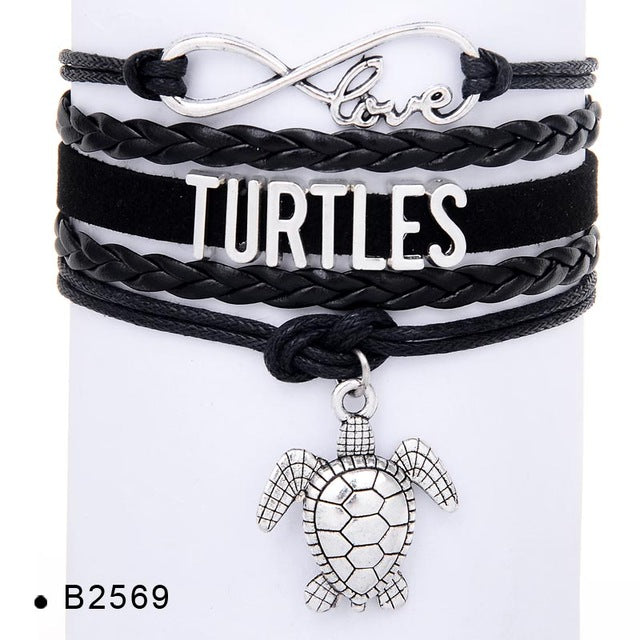 Leather Wrap Sea Turtle Rope Bracelet