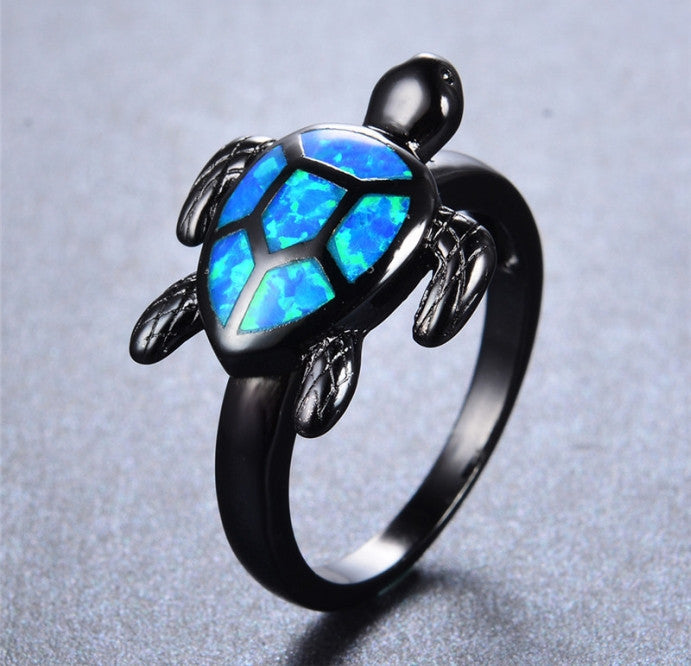 Blue Fire Turtle Opal Rings