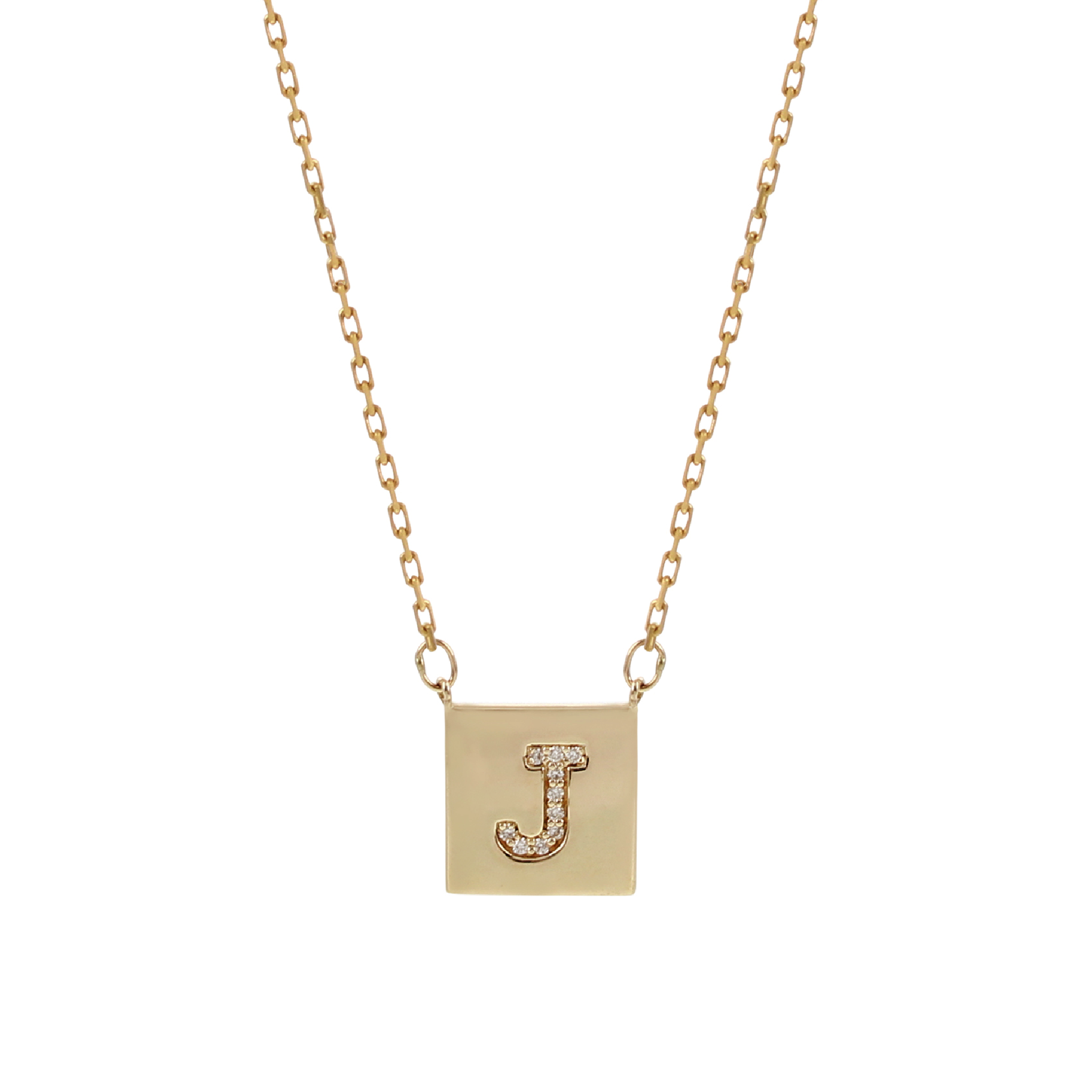 Yellow Gold Pave Square Necklace