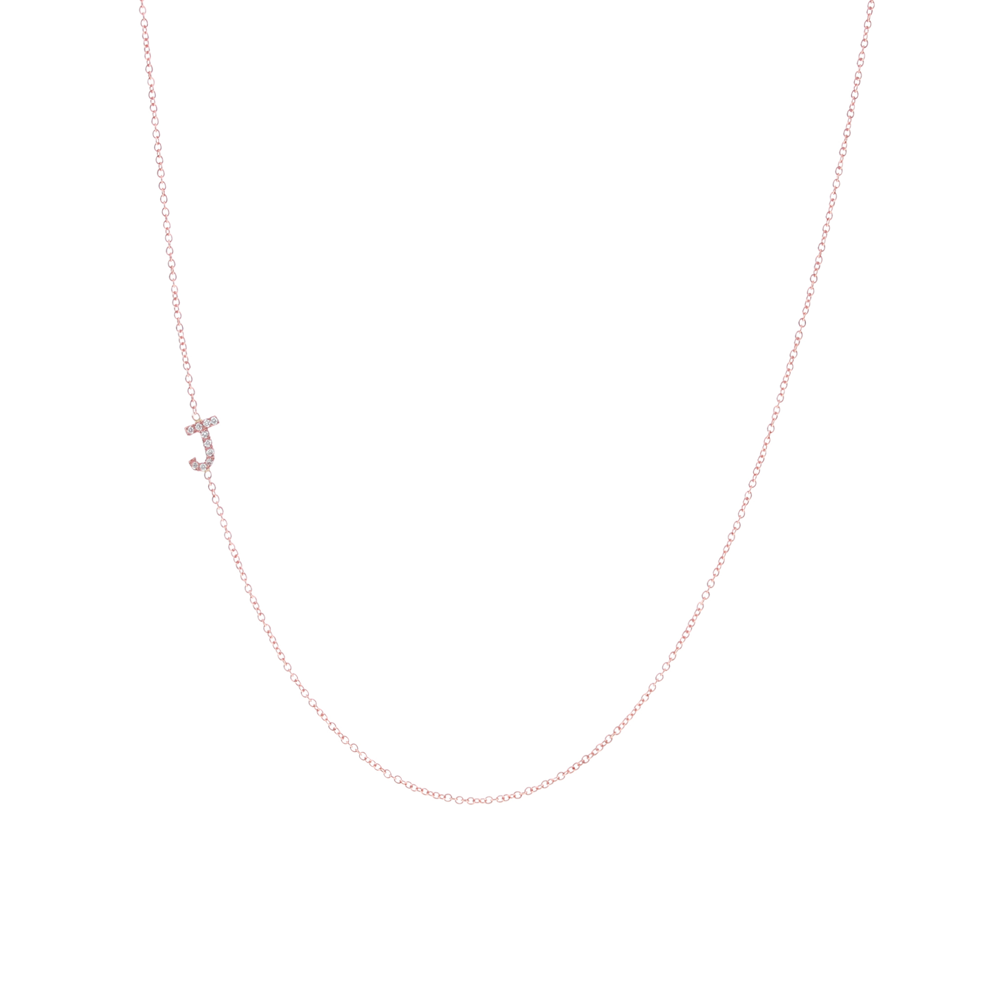 Rose Gold Pave Letter Necklace