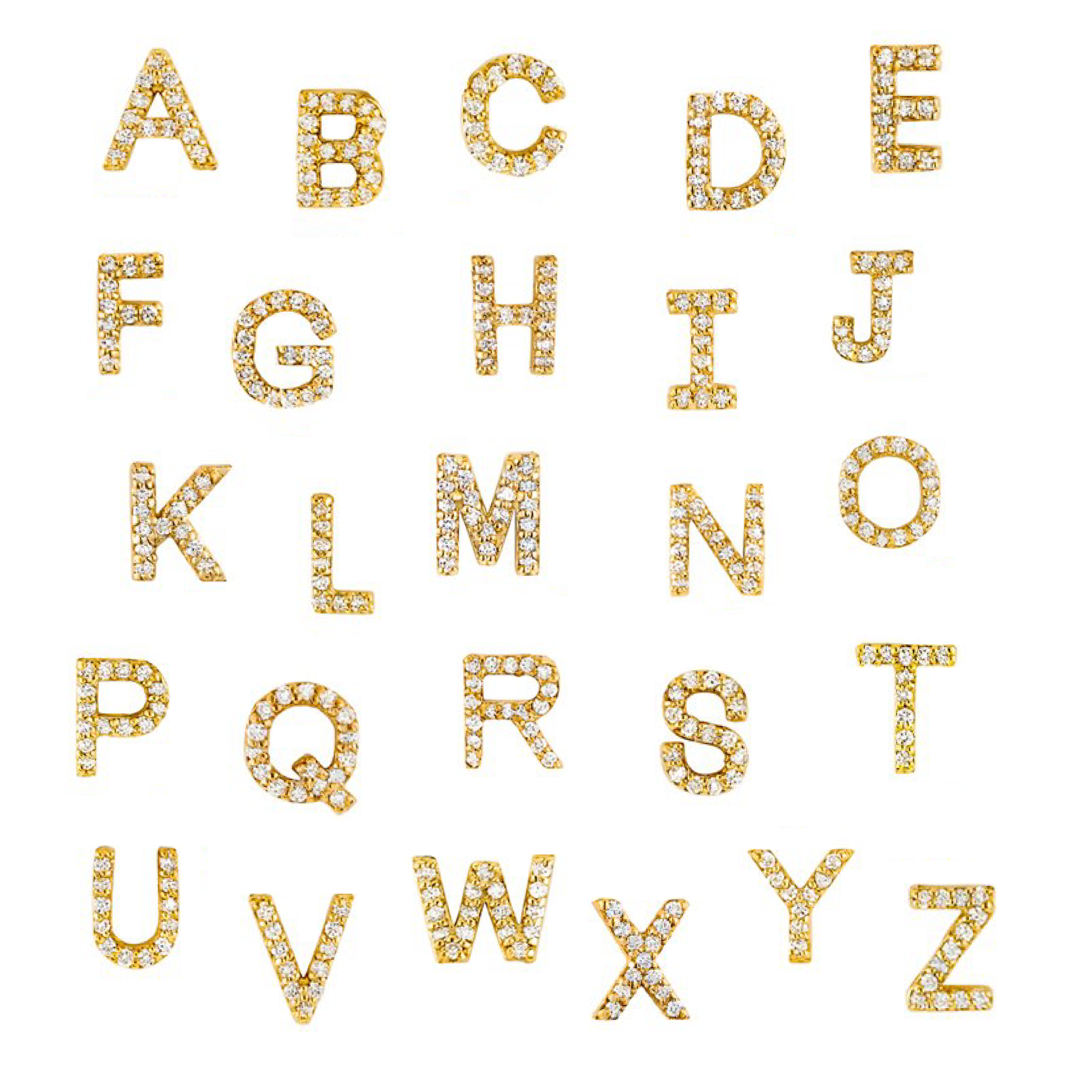 Yellow Gold Pave Letter Necklace
