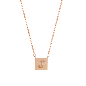 Rose Gold Pave Square Necklace