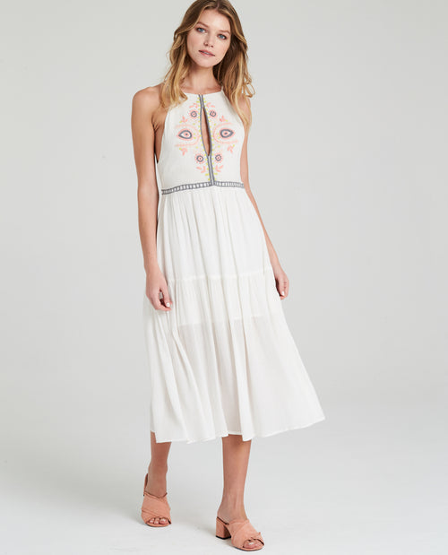 Bella Embroidered Midi Dress