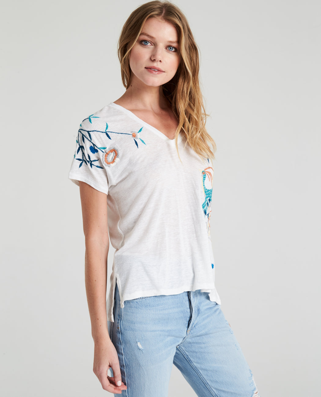 Enzo Embroidered V-Neck Tee